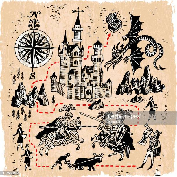 medieval kingdom map with knights, castles and dragons - dragon stock illustrations