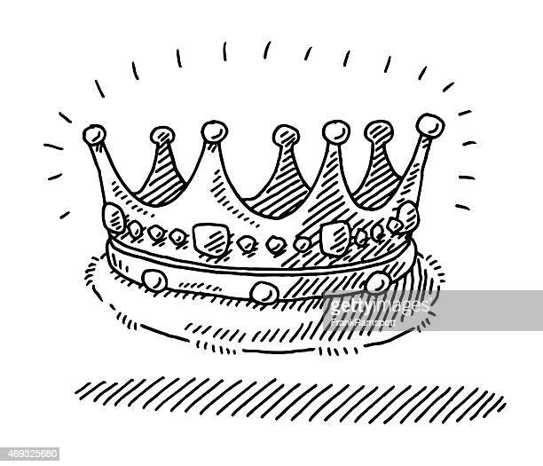 medieval king's crown drawing - medieval queen crown stock illustrations
