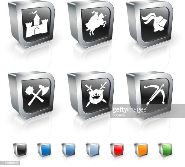 Medieval Knight 3D royalty free vector icon set
