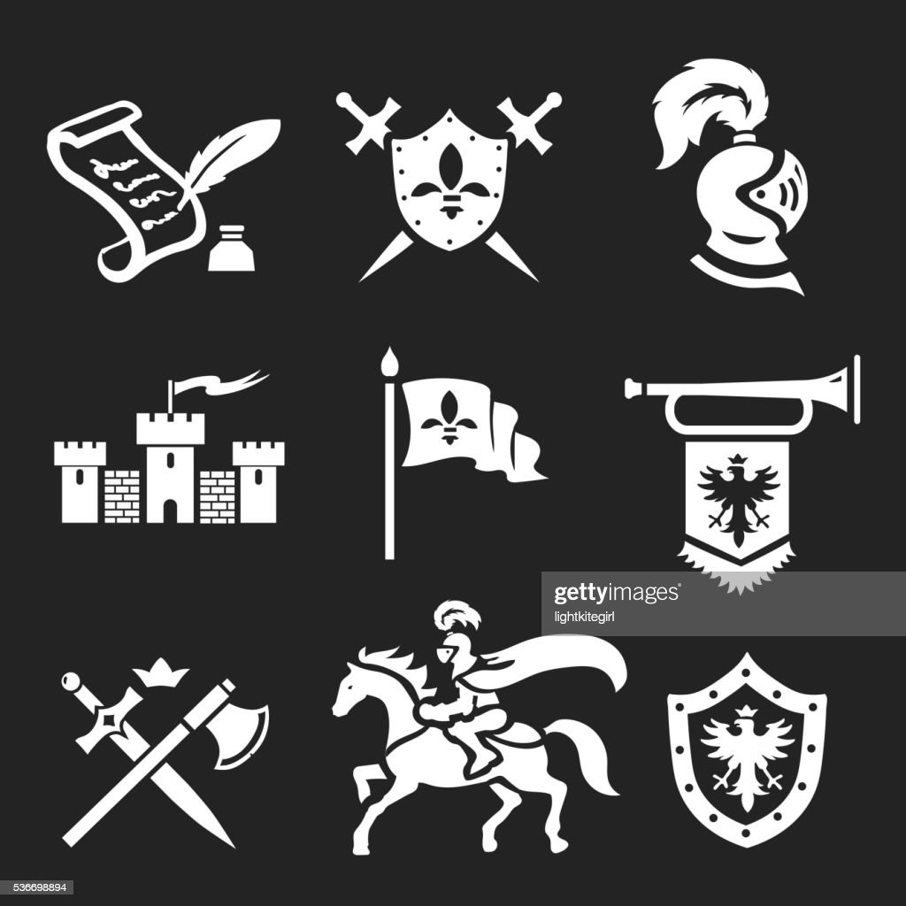 Medieval Knight armor and swords icon set