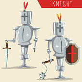 Medieval knight armor with a helmet, sword, shield and mace. Vector cartoon illustration isolated on background.