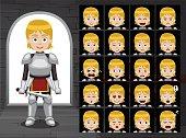 Medieval Knight Girl Cartoon Emotion Faces Vector Illustration