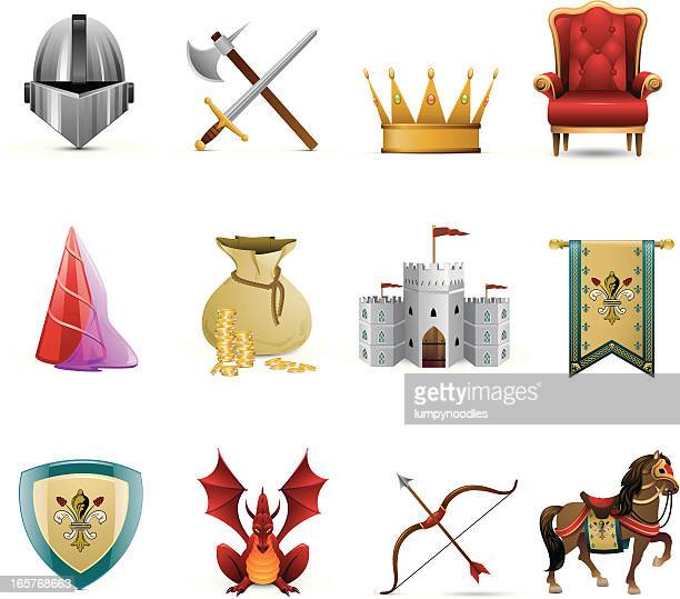 medieval knight icons - king royal person stock illustrations, clip art, cartoons, & icons