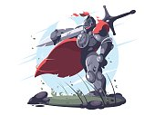Medieval knight in metal armor and helmet