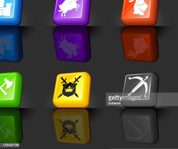Medieval Knight internet royalty free vector icon set