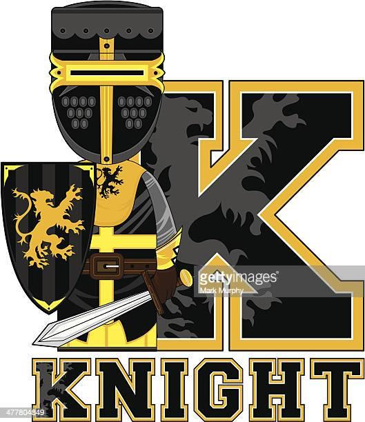 medieval knight learning letter k - helmet visor stock illustrations, clip art, cartoons, & icons