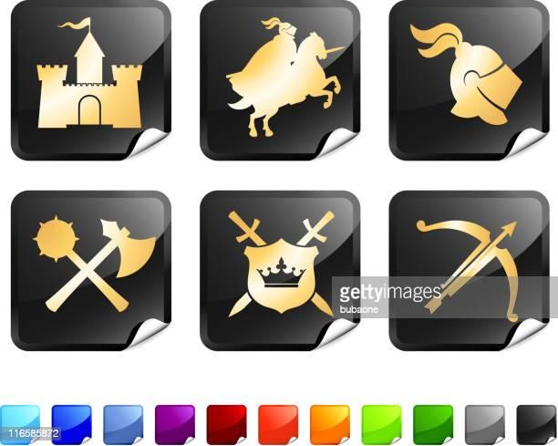 medieval knight royalty free vector icon set stickers in gold - helmet visor stock illustrations, clip art, cartoons, & icons