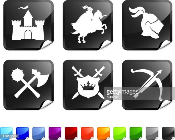 Medieval Knight royalty free vector icon set stickers