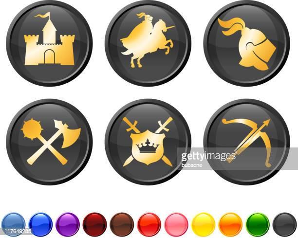 medieval knight royalty free vector icon set - helmet visor stock illustrations, clip art, cartoons, & icons