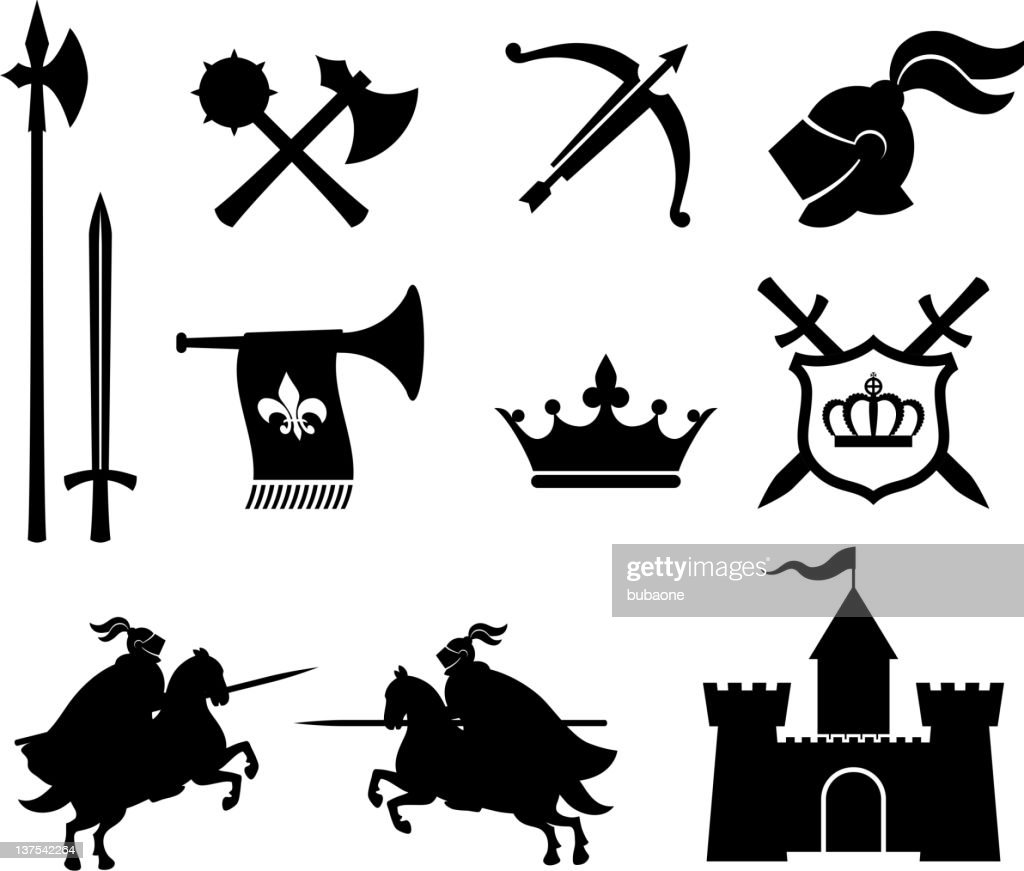 medieval knight royalty free vector icon set vector art