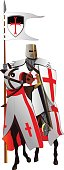 Medieval knight, templar, on a horse. Vector illustration. Isolated on white.