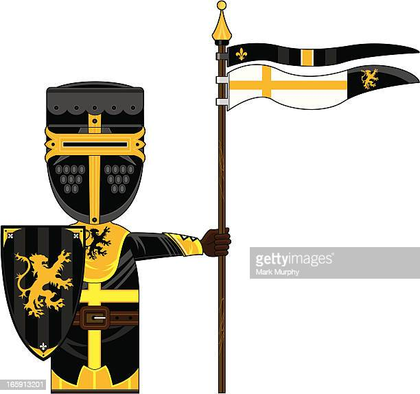 Medieval Knight with Shield and Flag