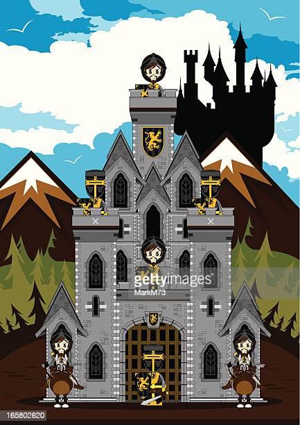 medieval knights guarding castle scene - army helmet stock illustrations, clip art, cartoons, & icons