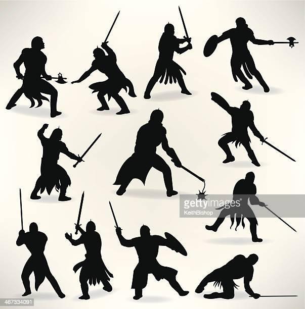 ilustrações de stock, clip art, desenhos animados e ícones de medieval cavaleiros-espada luta, batalha - luta de espadas