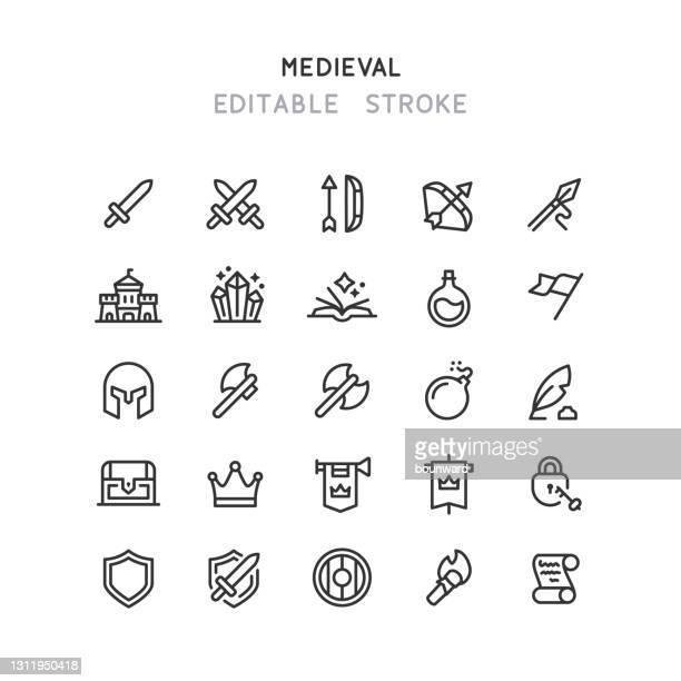 illustrations, cliparts, dessins animés et icônes de icônes de ligne médiévale course modifiable - arc élément architectural