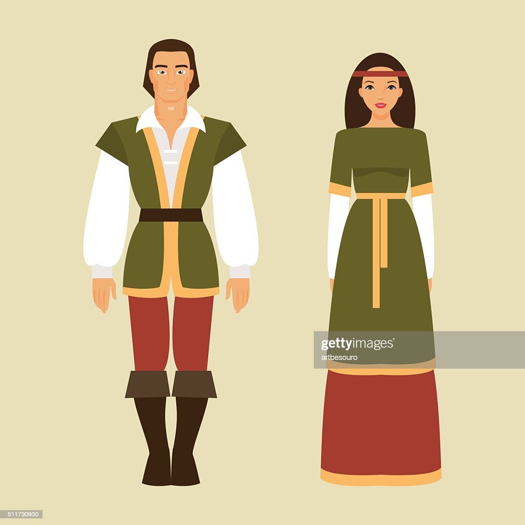 Medieval man and a woman. Vector illustration