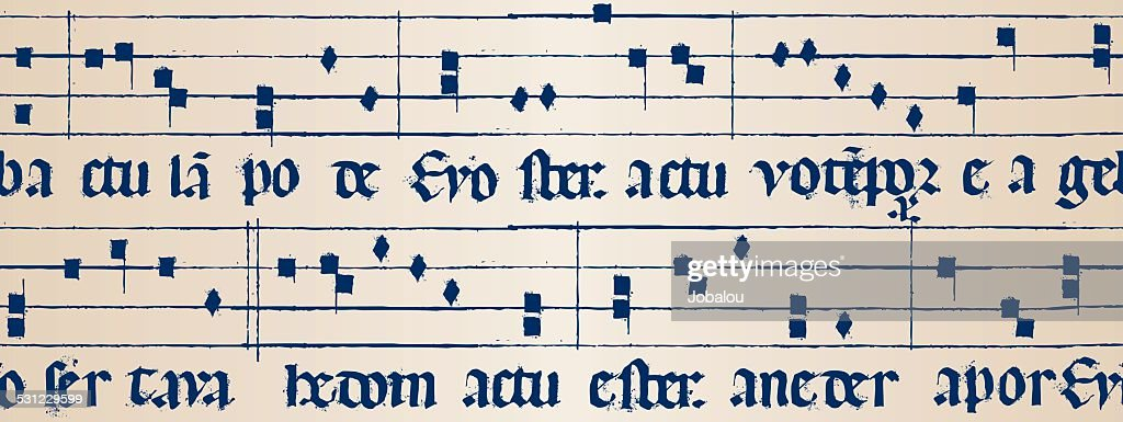 Medieval Music Score Seamless : Vector Art