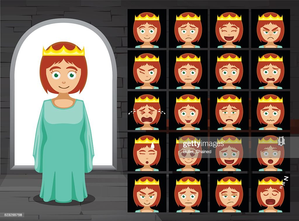 Medieval Princess Cartoon Emotion Faces Vector Illustration