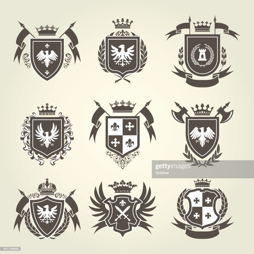 Medieval royal coat of arms and knight emblems - heraldic shield crest