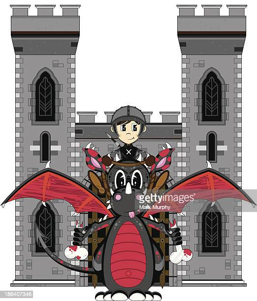 Medieval Soldier and Dragon at Castle