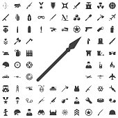 Medieval spear weapon with pointed head flat icon