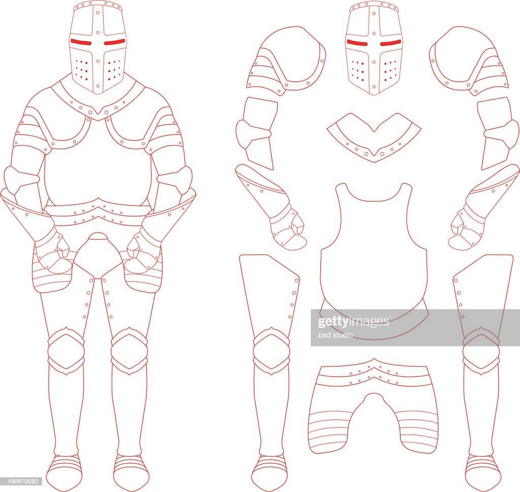 Medieval templar knight armor set. Contour