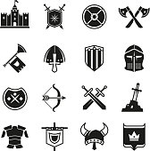 Medieval warriors shield and sword vector icons. Ancient knight symbols