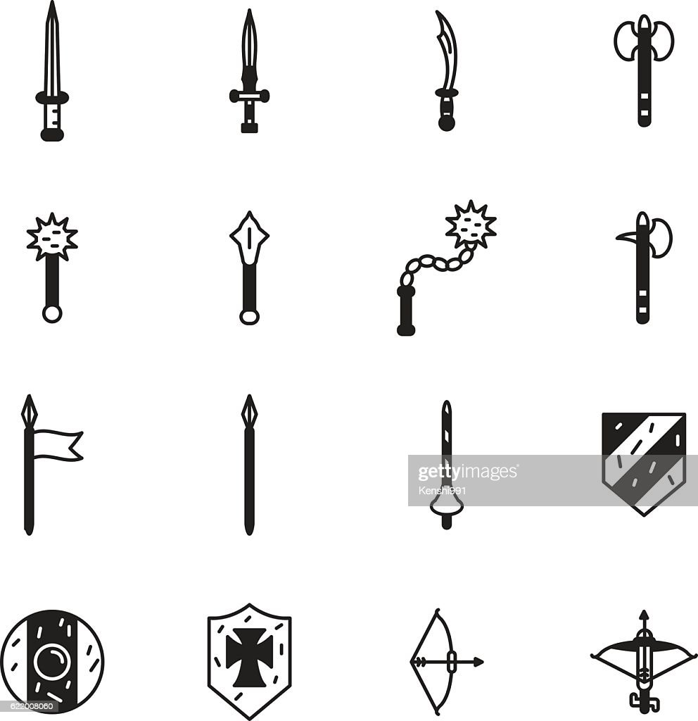 Medieval weapons icon set. Vector
