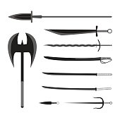 Medieval weapons set. Flat style equipment. Isolated weapon