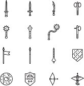 Medieval weapons thin line icon set. Vector