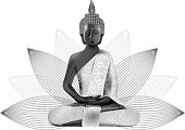 Meditating Buddha posture in silver and black colors in lotus