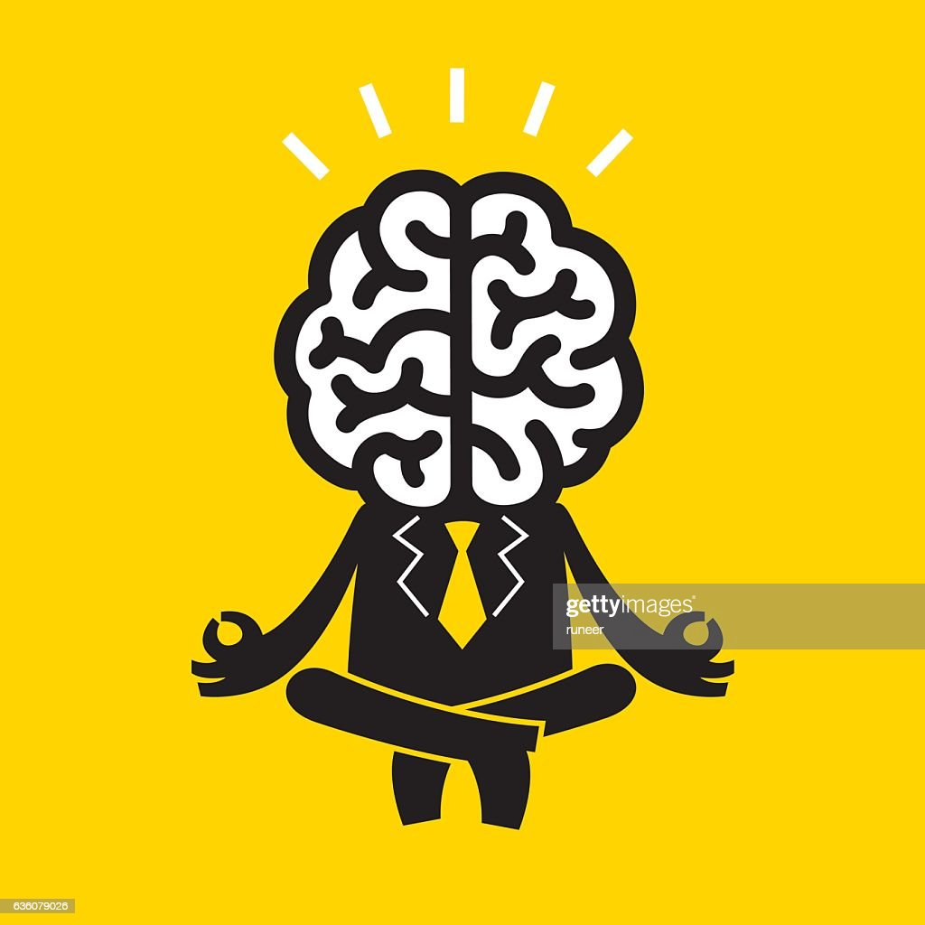 Meditating Businessman (Mr Brain) | Yellow Business Concept : Vector Art