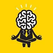 Meditating Businessman (Mr Brain)   Yellow Business Concept