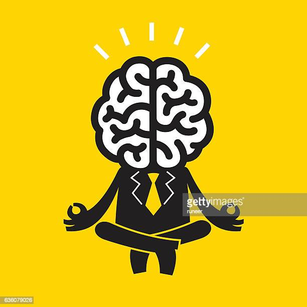 ilustraciones, imágenes clip art, dibujos animados e iconos de stock de meditating businessman (mr brain) | yellow business concept - peace