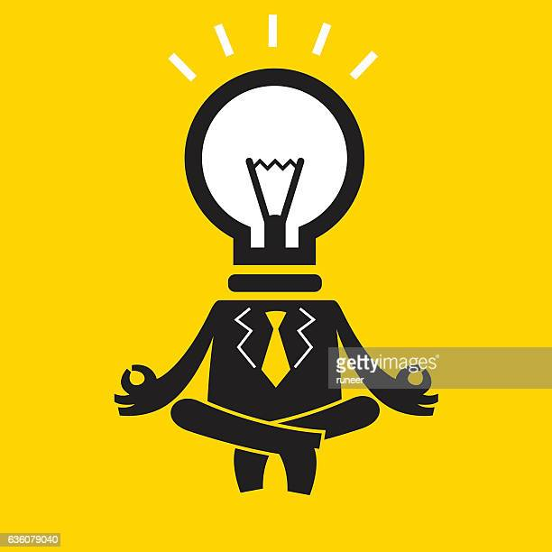 Meditating Businessman (Mr Idea) | Yellow Business Concept