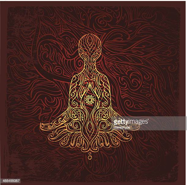 meditating figure - chakra stock illustrations, clip art, cartoons, & icons