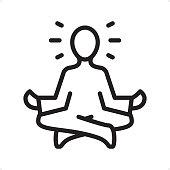 Meditating Guru Sitting Lotus Position - Outline Icon - Pixel Perfect