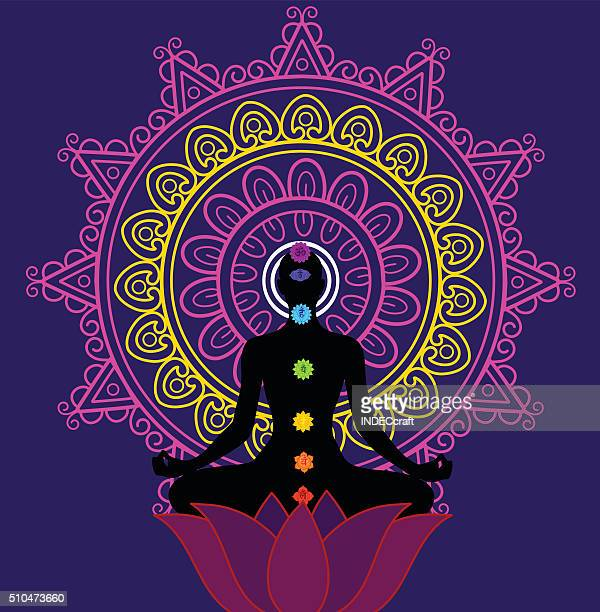 meditation and seaven chakra - lotus position stock illustrations, clip art, cartoons, & icons