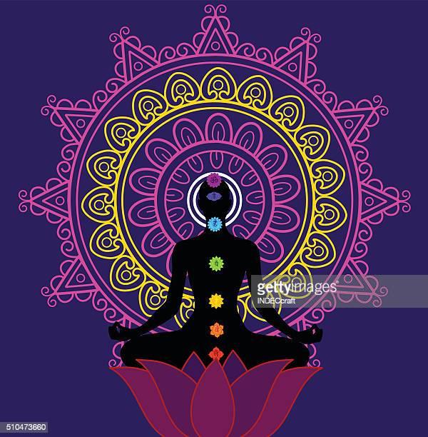 meditation and seaven chakra - lotus position stock illustrations