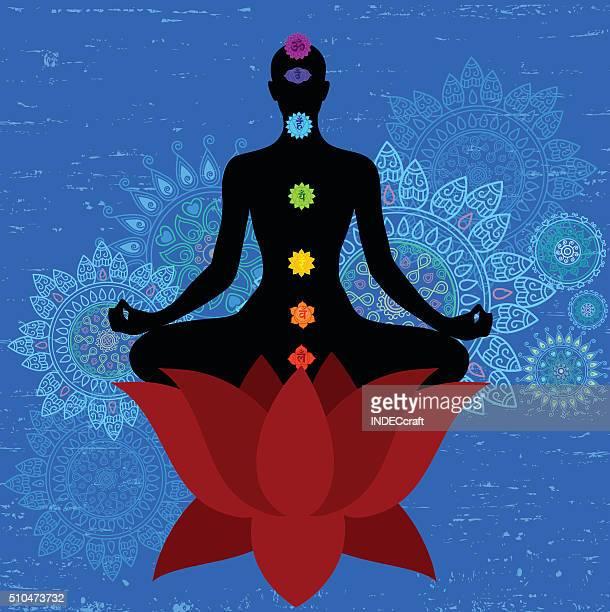 meditation and seaven chakra - chakra stock illustrations, clip art, cartoons, & icons