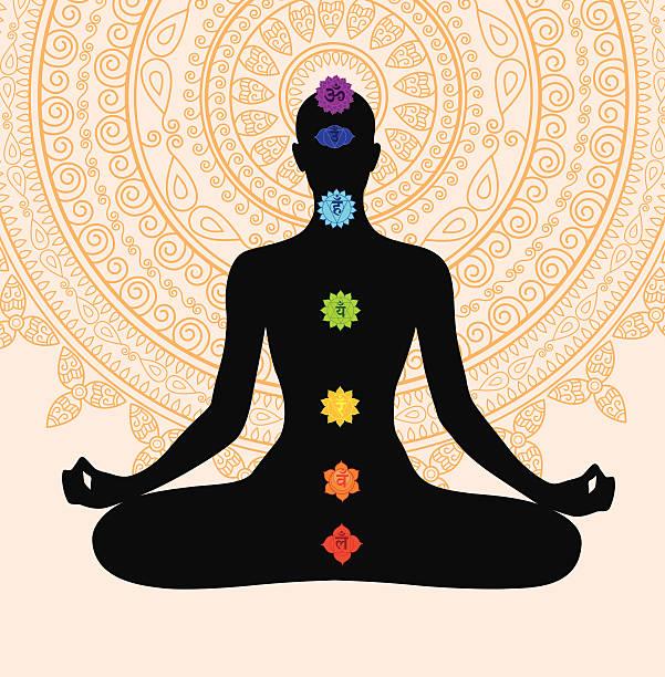 瞑想、7 つのチャクラ - チャクラ点のイラスト素材/クリップアート素材/マンガ素材/アイコン素材