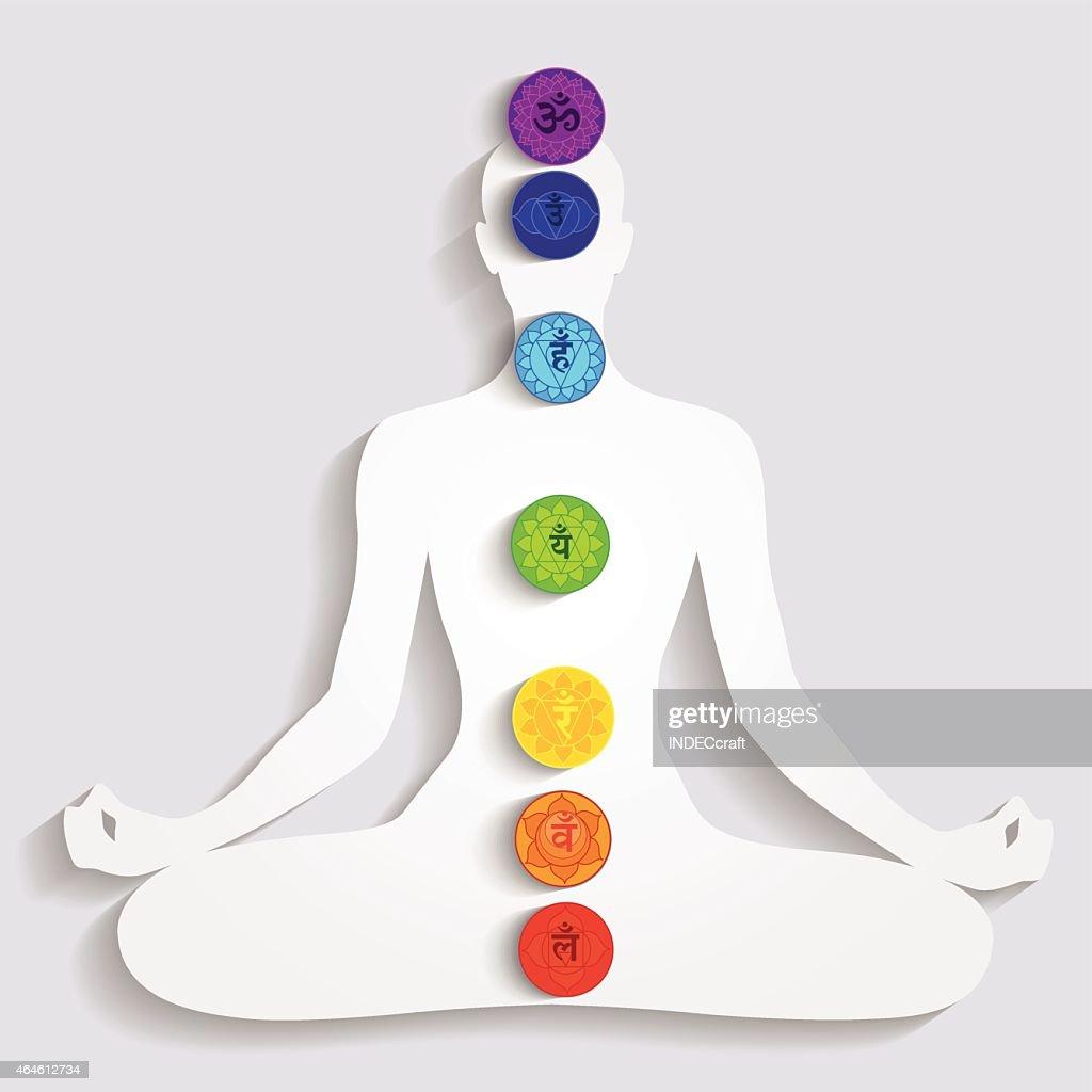 La meditación y siete Chakras : Ilustración de stock