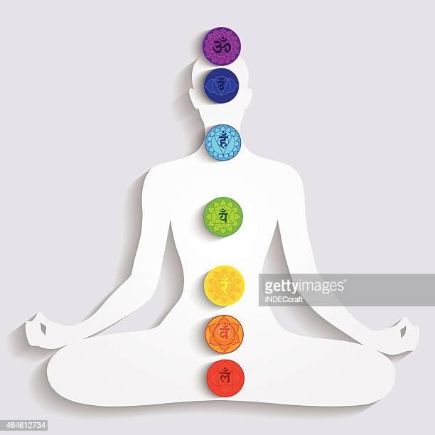 illustrations, cliparts, dessins animés et icônes de méditation et sept chakras - chakra