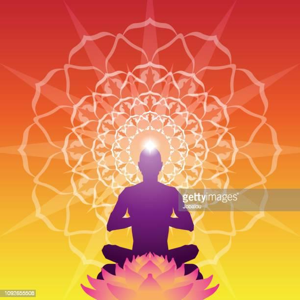 ilustraciones, imágenes clip art, dibujos animados e iconos de stock de fondo de aura meditación - espiritualidad