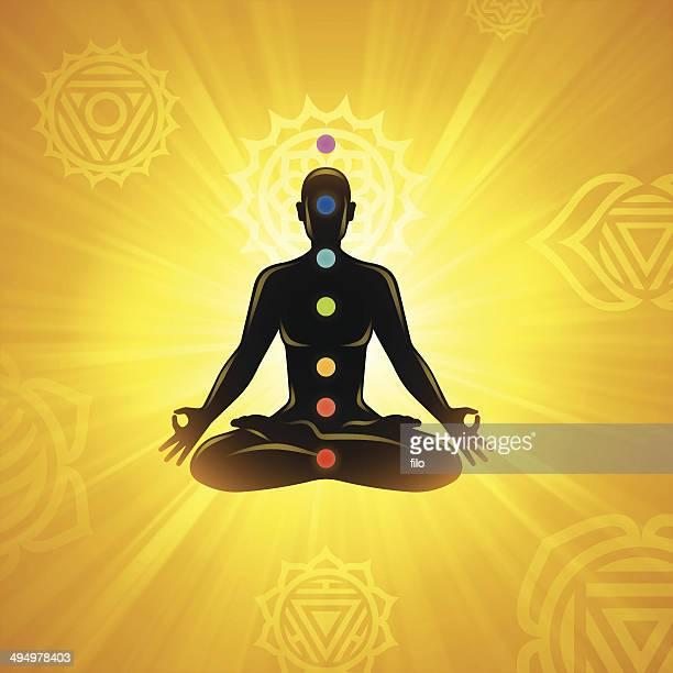 bildbanksillustrationer, clip art samt tecknat material och ikoner med meditation background - chakra