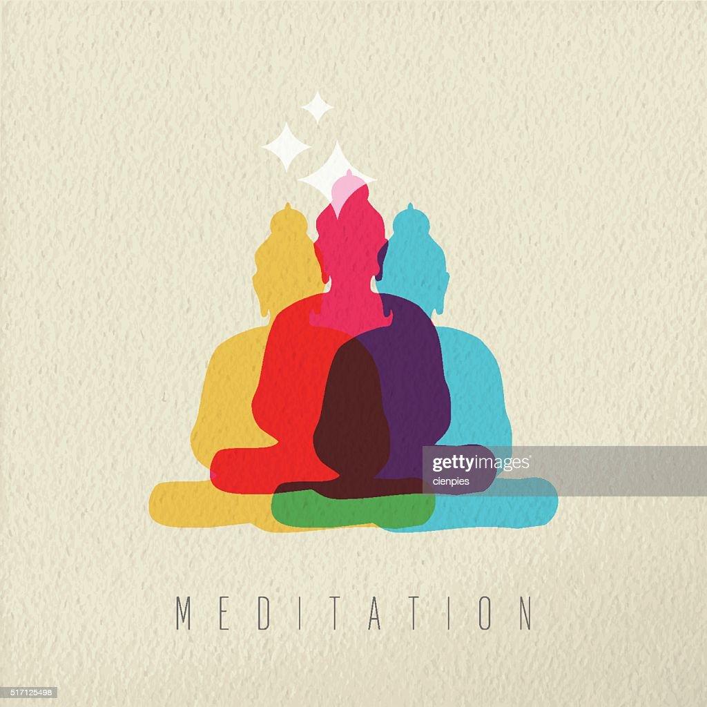 Meditation concept design of peace asian buddha