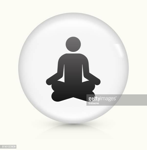Meditation icon on white round vector button