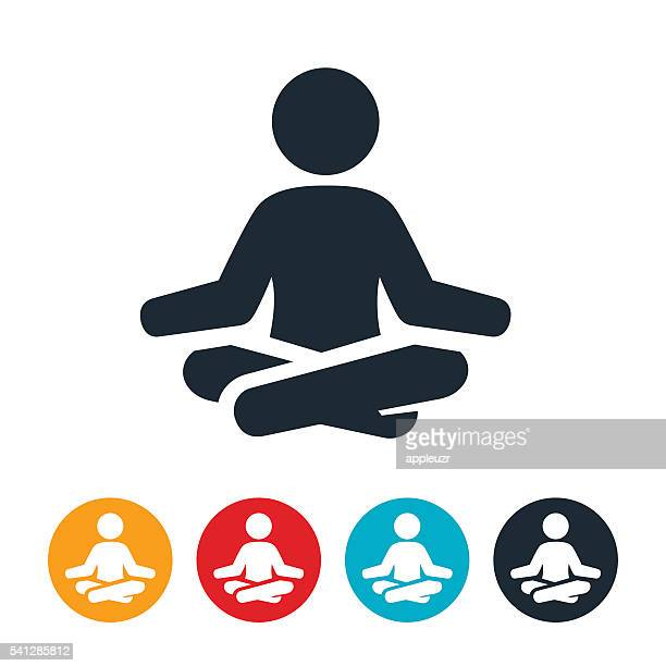 meditation icon - relaxation stock illustrations