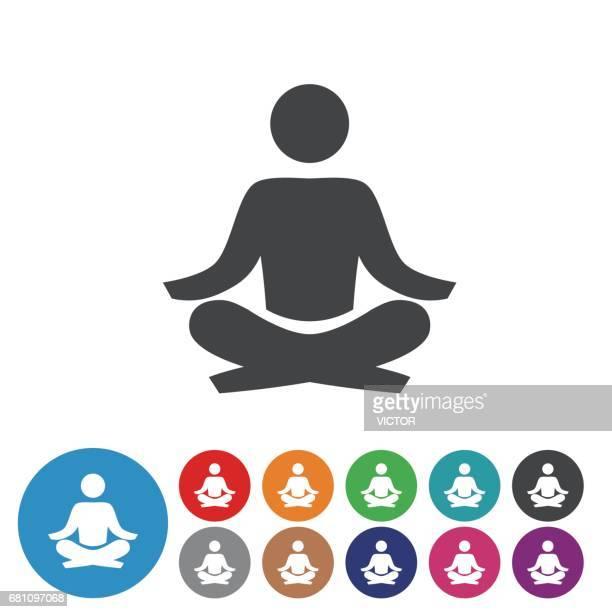 ilustraciones, imágenes clip art, dibujos animados e iconos de stock de set de iconos meditación - serie icono gráfico - yoga