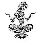 Meditation lotus pose. Tattoo style